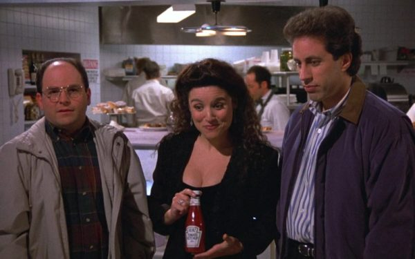 "George, Elaine, and Jerry in ""Seinfeld"""